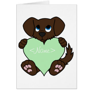 Valentine Chocolate Dog with Light Green Heart Greeting Card