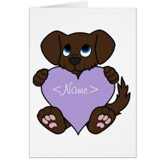 Valentine Chocolate Dog with Light Purple Heart Greeting Card