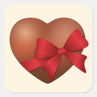 Valentine chocolate heart square sticker
