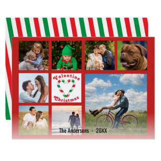 Valentine Christmas Candy Cane Heart Collage Card