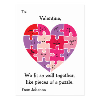Valentine Classroom Cards Autism Heart Postcard