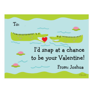 Valentine Classroom Cards for Kids Alligator Postcard