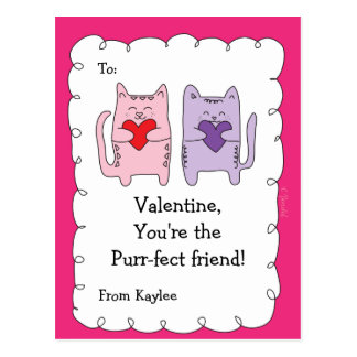 Valentine Classroom Cards for Kids Cats Kittens Postcard