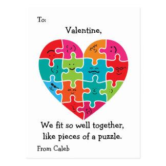 Valentine Classroom Cards Kids Autism Heart Postcard