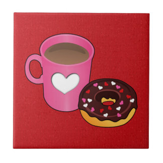 Valentine Coffee and Donut Tile