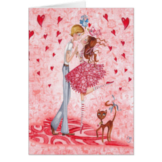 Valentine Couple Love Hearts | Greeting Card