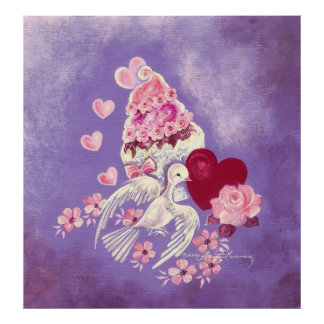 Valentine Cupcake With Love Dove & Heart Poster