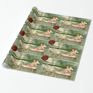 VALENTINE CUPID,PULLED BY SWANS ,RED WAX SEAL WRAPPING PAPER