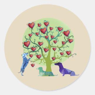 Valentine Dachshund Hearts Garden Classic Sticker