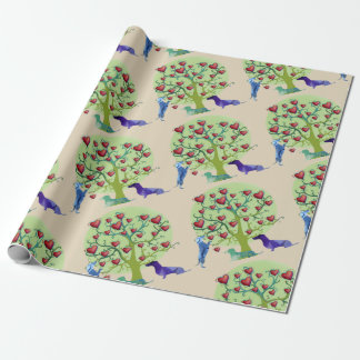 Valentine Dachshund Hearts Matte Wrapping Paper
