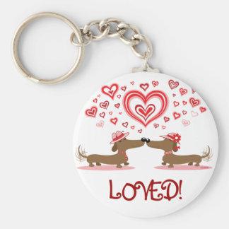 Valentine Dachshunds Basic Round Button Key Ring
