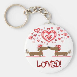 Valentine Dachshunds Key Ring