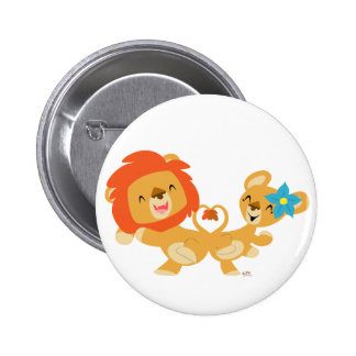 Valentine dancing lion couple button badge