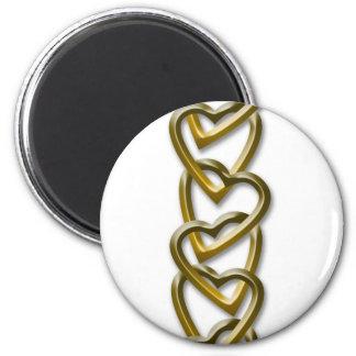 Valentine Day Hearts Chain 6 Cm Round Magnet