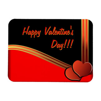 Valentine day illustration with hearts and ribbon rectangular magnet