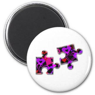 Valentine Day Puzzle 6 Cm Round Magnet