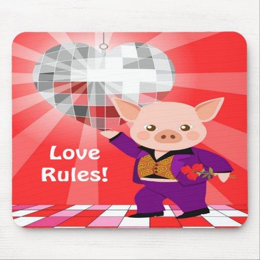 Valentine disco pig mousepad
