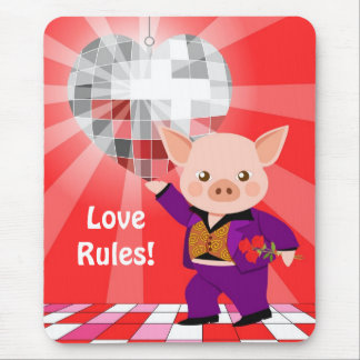 Valentine disco pig mouse pad