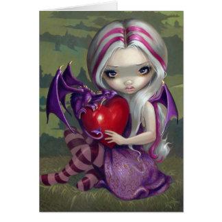Valentine Dragon gothic  fairy Card