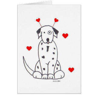 Valentine Ears Dalmatian Card
