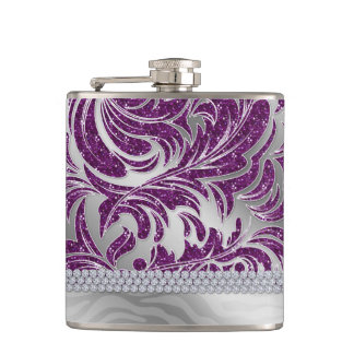 Valentine Engagement Wedding Leaf Glitter Hip Flask