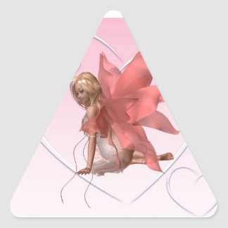 Valentine Fairy and frosted pink hearts - 2 Triangle Sticker