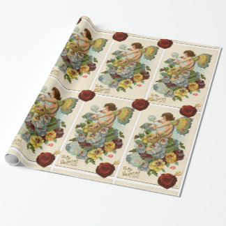 VALENTINE FAIRY BLOWING BUBBLES,PANSIES,WAX SEAL WRAPPING PAPER