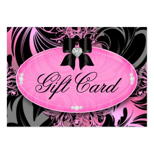 VALENTINE Fashion Gift Card Heart Bow Pink Gray Business Card