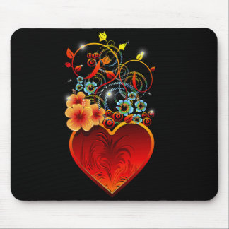 Valentine Floral Heart Love Mousepad