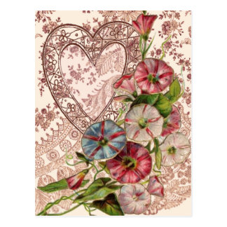 Valentine Flowers And Lace Heart Post Cards