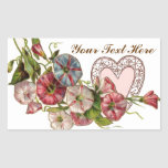 Valentine Flowers And Lace Heart Rectangle Sticker