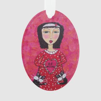 Valentine Folk Art Lady Heart Black Cats Love Ornament