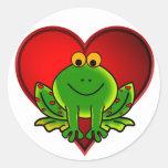 Valentine Frog Round Stickers