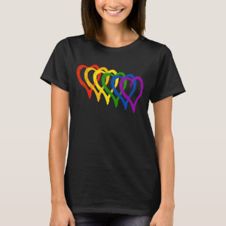 Valentine Gay Pride Rainbow Layered Hearts T-Shirt