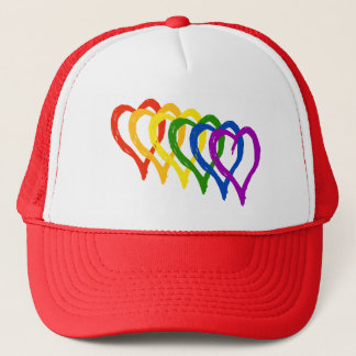 Valentine Gay Pride Rainbow Layered Hearts Trucker Hat