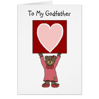 valentine girl bear holding card for godfather