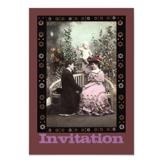 Valentine Girl With Pink Victorian Dress 13 Cm X 18 Cm Invitation Card