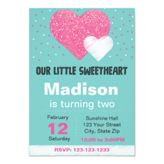 Valentine Glitter Heart Birthday Party Invitation