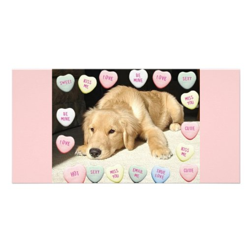 Valentine Golden Retriever Puppy Photo Card