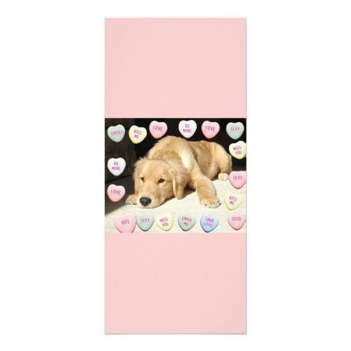 Valentine Golden Retriever Puppy Custom Rack Cards