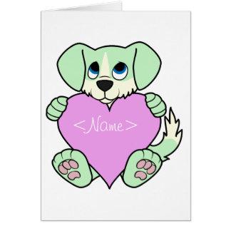 Valentine Green Dog with Blaze & Light Pink Heart Greeting Card