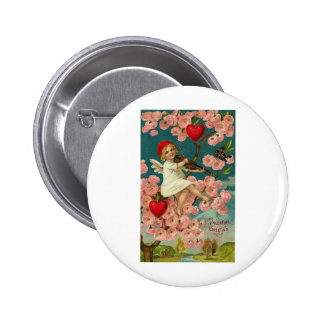 Valentine Greeting Cupid with Pink Roses Violin an Pinback Buttons