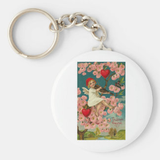 Valentine Greeting Cupid with Pink Roses Violin an Basic Round Button Key Ring