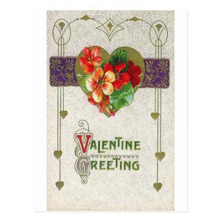 Valentine Greeting Floral Postcard