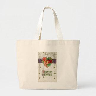 Valentine Greeting Floral Tote Bag