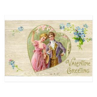 Valentine Greeting Vintage Couple Postcard