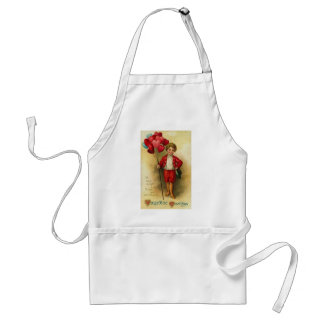 Valentine Greetings Boy With Heart Balloons (2) Adult Apron