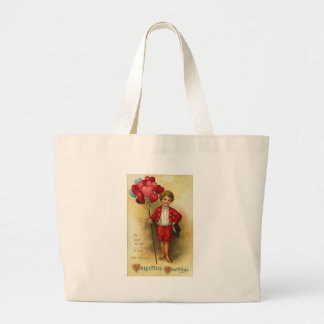 Valentine Greetings Boy With Heart Balloons (2) Canvas Bags