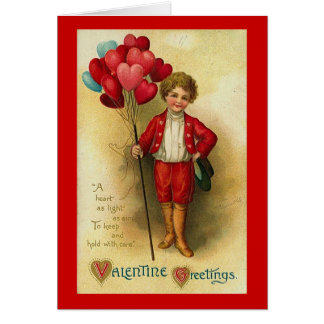 Valentine Greetings Boy With Heart Balloons 2 Greeting Card
