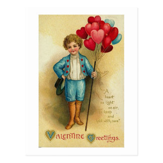 Valentine Greetings Boy with Heart Balloons Postcard